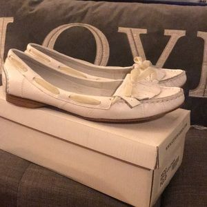 Never worn white loafers